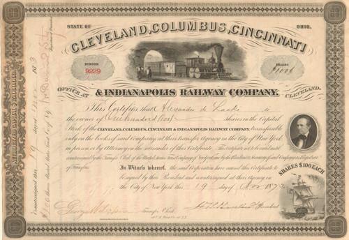 Cleveland, Columbus, Cincinnati and Indianapolis Railway Company stock certificate 1873