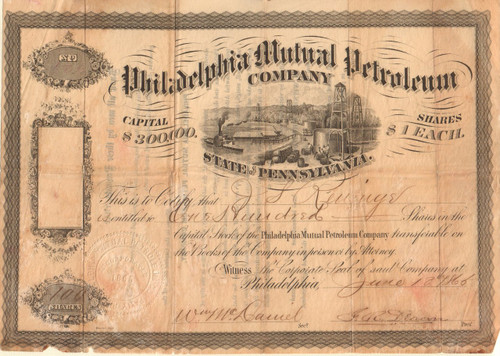 Philadelphia Mutual Petroleum Company stock certificate 1866