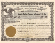 Grapette Bottling Company stock certificate 1960's