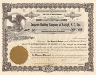 Grapette Bottling Company stock certificate 1960's