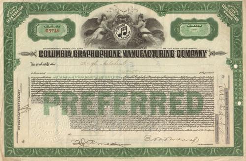 Columbia Graphophone Manufacturing Company stock certificate 1923
