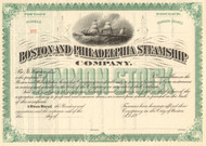 Boston and Philadelphia Steamship Company stock certificate 1890's - green