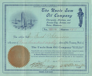 Uncle Sam Oil Company  stock certificate 1911