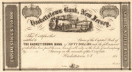 Hackettstown Bank, New Jersey stock certificate 1850's