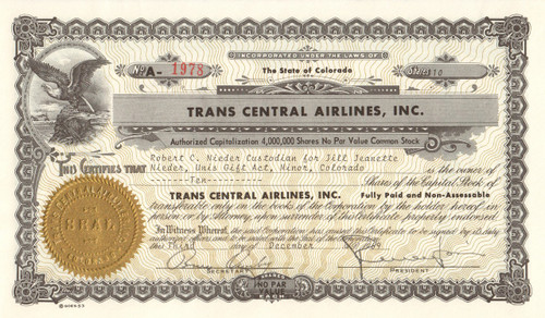 Trans Central Airlines Inc. stock certificate 1969 (Colorado)