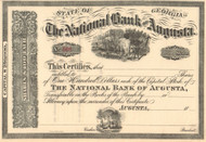 The National Bank of Augusta stock certificate circa 1865 (Georgia)