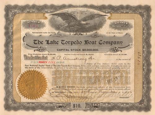 Lake Torpedo Boat Company stock certificate 1916