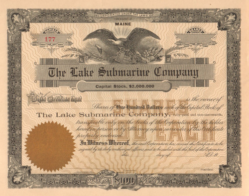 The Lake Submarine Company stock certificate circa 1895