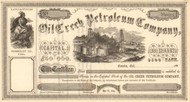 Oil Creek Petroleum Company stock certificate circa 1865 (California)