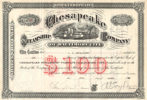 Chesapeake Steamship Company stock certificate 1928 (Baltimore MD)