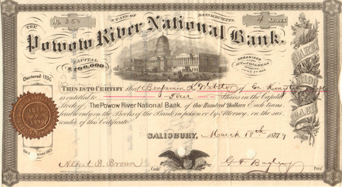 Powow River National Bank stock certificate 1870's (Massachusetts)