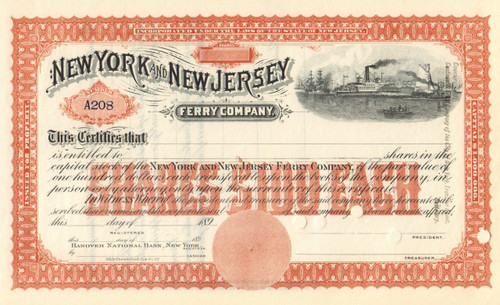 New York and New Jersey Ferry Company stock certificate circa 1895