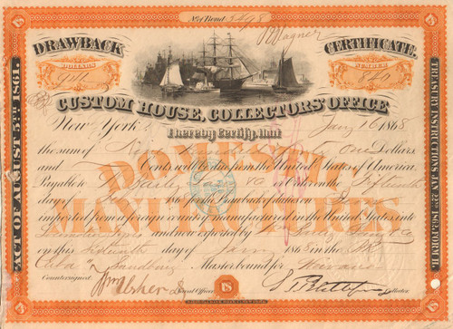 Custom House, Collectors Office Drawback certificate 1868