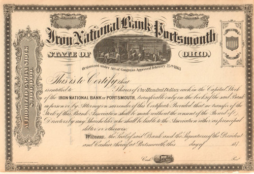Iron National Bank Portsmouth stock certificate circa 1872 (Ohio)