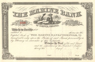 The Marine Bank stock certificate circa 1918 (Norfolk VA)