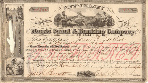 Morris Canal and Banking Company of 1844 stock certificate 1872 (New Jersey)