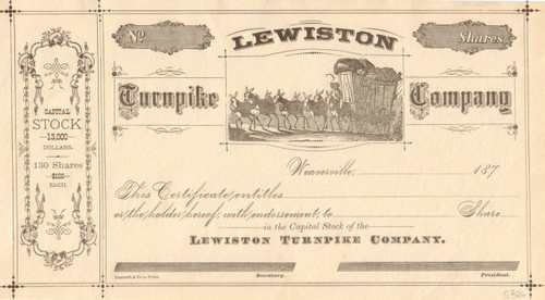 Lewiston Turnpike Company stock certificate 1870's (California)