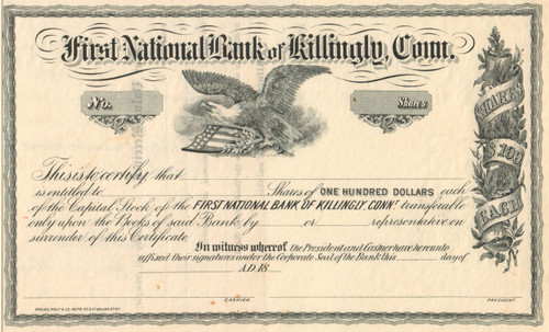 First National Bank of Killingly stock certificate (Connecticut)  circa 1864