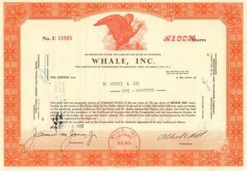 Whale Inc. stock certificate 1969 (Nashville, Tennessee)