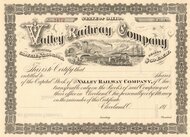 Valley Railway Company  stock certificate 1890's (Cleveland, Ohio)