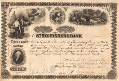 Stroudsburg  Bank (PA) stock certificate 1884 - stunning engravings