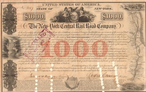 New York Central Railroad $1000 bond certificate 1853 (Erastus Corning as president)