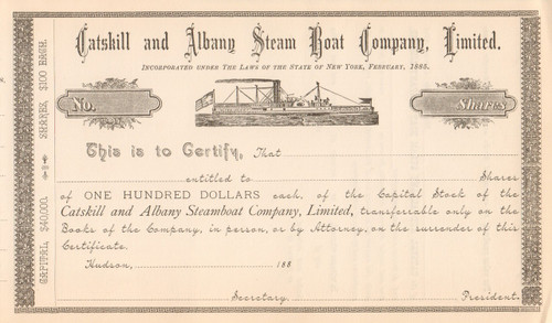 Catskill and Albany Steam Boat Company certificate circa 1885 (New York)