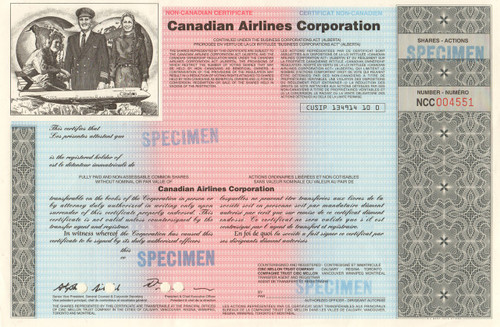 Canadian Airlines Corporation stock certificate - specimen