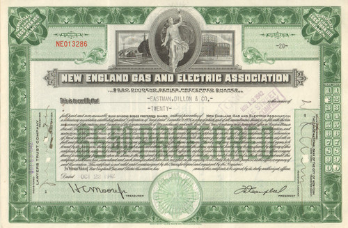 New England Gas and Electric Association stock certificate - 1940's