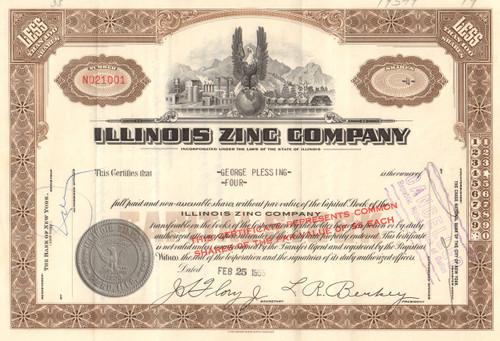 Illinois Zinc Company stock certificate 1955