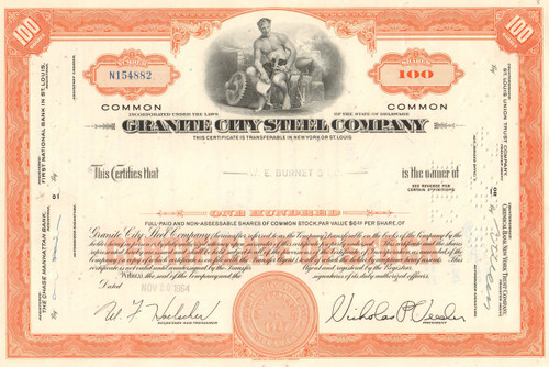Granite City Steel Company stock certificate 1960's