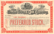 United States Car Company stock certificate 1894 (railway cars) - dark orange Preferred stock