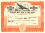 Lakeview State Bank of Battle Creek stock certificate circa 1926  (Michigan)