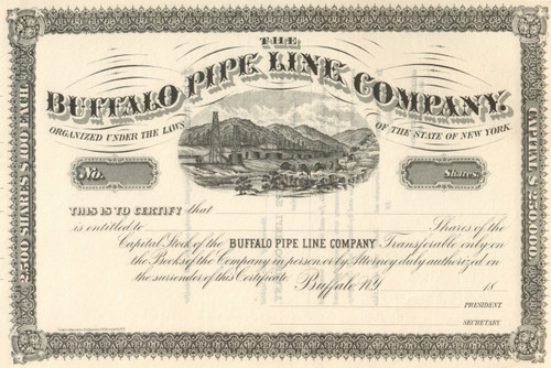 Buffalo Pipe Line Company stock certificate circa 1877  (New York)