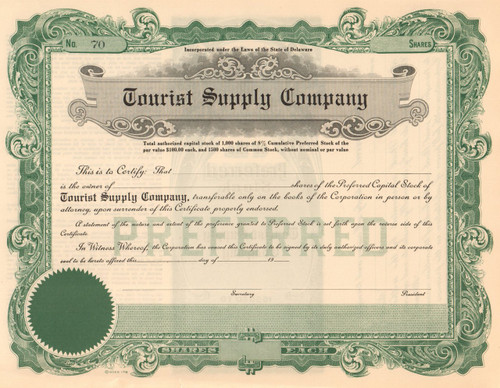 Tourist Supply Company stock certificate circa 1924 (camping equipment)