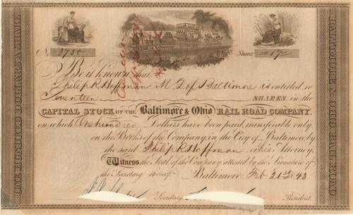 Baltimore & Ohio Rail Road stock certificate 1843