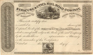 Syracuse and Utica stock certificate circa 1836 (New York)