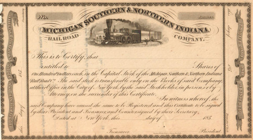 Michigan Southern and Northern Indiana Railroad Company stock certificate circa 1850's