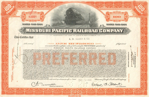 Missouri Pacific Corporation stock certificate 1954