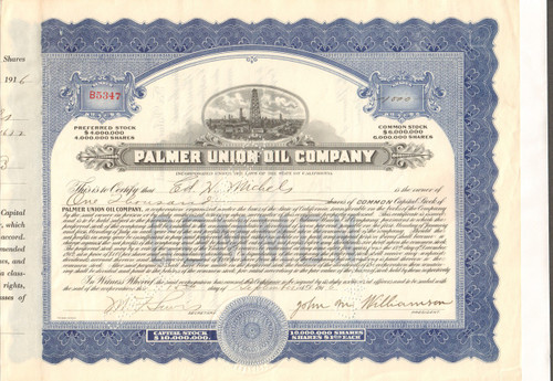 Palmer Union Oil Company stock certificate (famous Coke lawsuit)