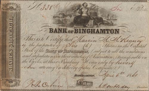 Bank of Binghamton stock certificate 1861 (Doubleday family)