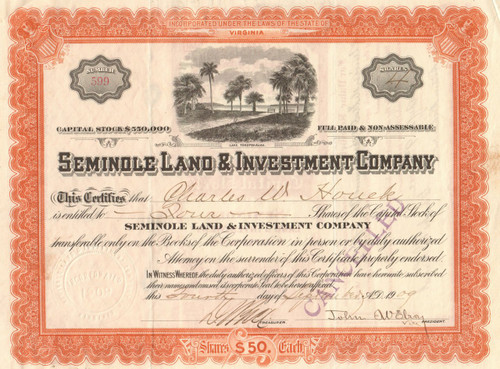 Seminole Land and Investment Company stock certificate 1909