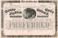 St. Paul & Sioux City Railroad Company stock certificate circa 1869