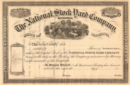 National Stock Yard Company stock certificate 1870's (New Jersey)