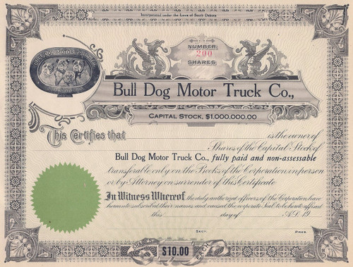 Bull Dog Motor Truck Co stock certificate