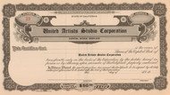 United Artists Studio Corporation stock certificate circa 1926 (California)