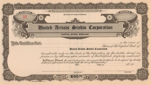 United Artists Studio Corporation stock certificate circa 1926 (California)