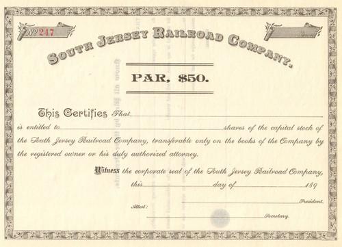 South Jersey Railroad Company stock certificate circa 1893  (New Jersey)