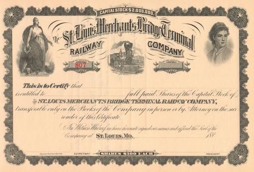 St Louis Merchants Bridge Terminal Railway Company stock certificate circa 1886  (MIssouri)