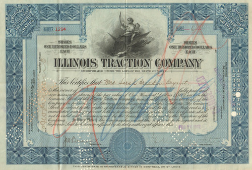 Illinois Traction Company stock certificate 1920's  (Illinois) - blue